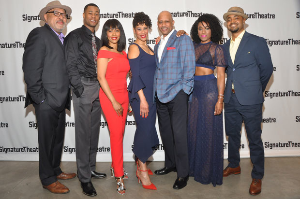 The company of the New York premiere of  Paradise Blue celebrate opening night at Signature Theatre.