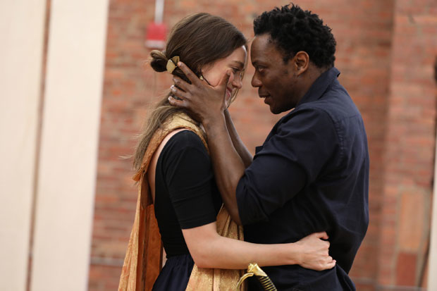 Heather Lind and Chukwudi Iwuji star as Desdemona and Othello, respectively, in the Public Theater's free Shakespeare in the Park production of Othello.