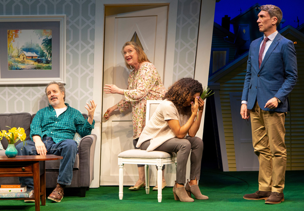 John Pankow, Kristine Nielsen, Rachel Nicks, and Robert Sella in Christopher Durang's Turning Off the Morning News