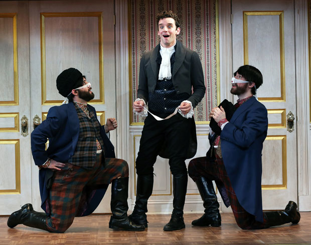 Ryan Garbayo, Michael Urie, and Ben Mehl in The Government Inspector, which won Best Revival at the 8th Annual Off Broadway Alliance Awards.
