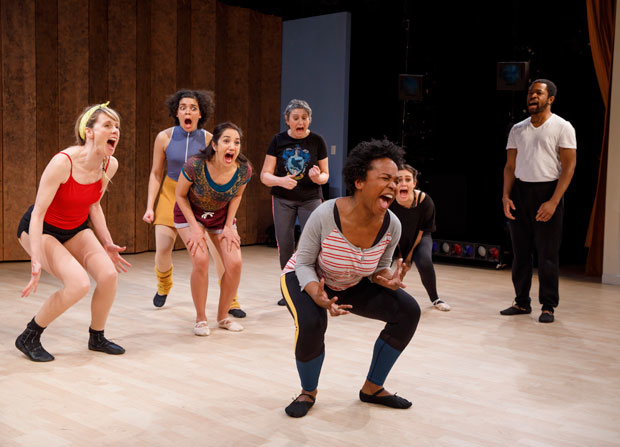 Lucy Taylor, Camila Canó-Flaviá, Purva Bedi, Ellen Maddow, Eboni Booth, Dina Shihabi, and Ikechukwu Ufomadu in Dance Nation