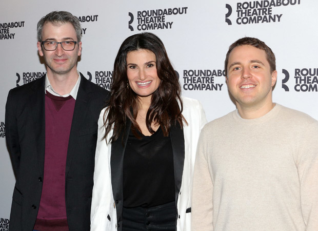 Skintight star Idina Menzel with director Daniel Aukin (left) and playwright Joshua Harmon (right).
