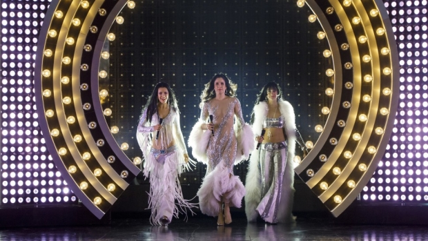 Teal Wicks, Stephanie J. Block, and Micaela Diamond share the title role in The Cher Show for its pre-Broadway run at Chicago's Oriental Theatre, directed by Jason Moore.