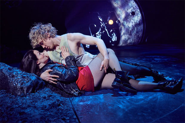 Andrew Polec as Strat and Christina Bennington as Raven in Bat Out of Hell The Musical.