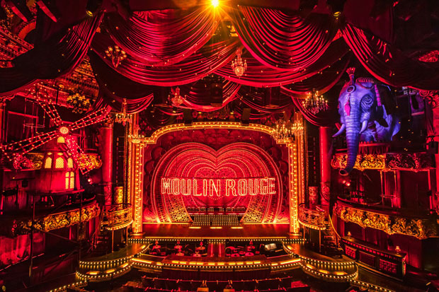 The set for Moulin Rouge!, beginning performances tonight at Boston's Emerson Colonial Theatre.
