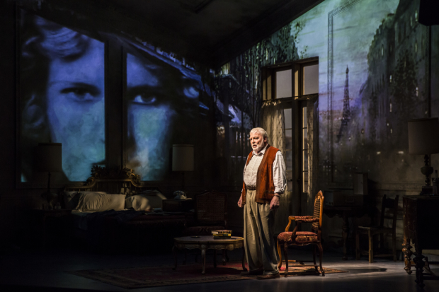 Stacy Keach as Ernest Hemingway in the world premiere of Jim McGrath's Pamplona, directed by Robert Falls at the Goodman Theatre.