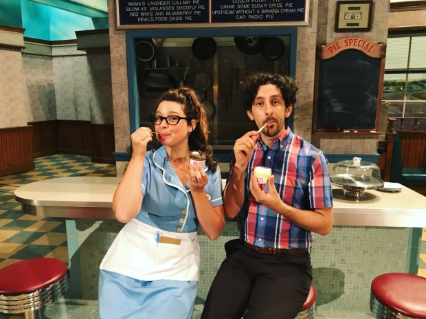 Spouses Katie Lowes and Adam Shapiro are making their Broadway debuts as Dawn and Ogie in Waitress at the Brooks Atkinson Theatre.