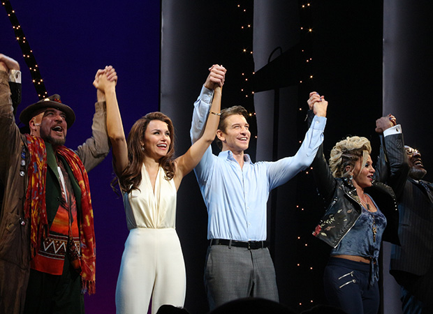 Eric Anderson, Samantha Barks, Andy Karl, Orfeh, and Ezra Knight take a bow as Pretty Woman opens on Broadway.