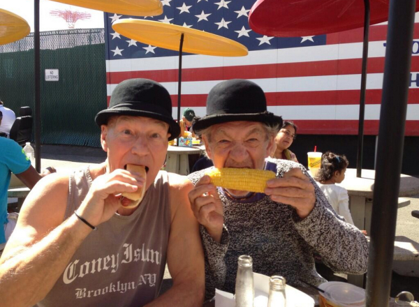 Sir Patrick Stewart and Sir Ian McKellen at Nathan's.