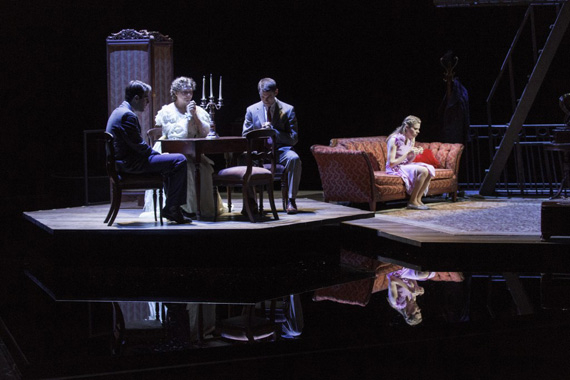Zachary Quinto, Cherry Jones, Brian J. Smith, and Celia Keenan-Bolger in The Glass Menagerie.