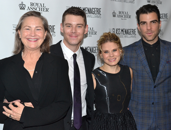The cast of The Glass Menagerie: Cherry Jones, Brian J. Smith, Celia Keenan-Bolger, and Zachary Quinto.