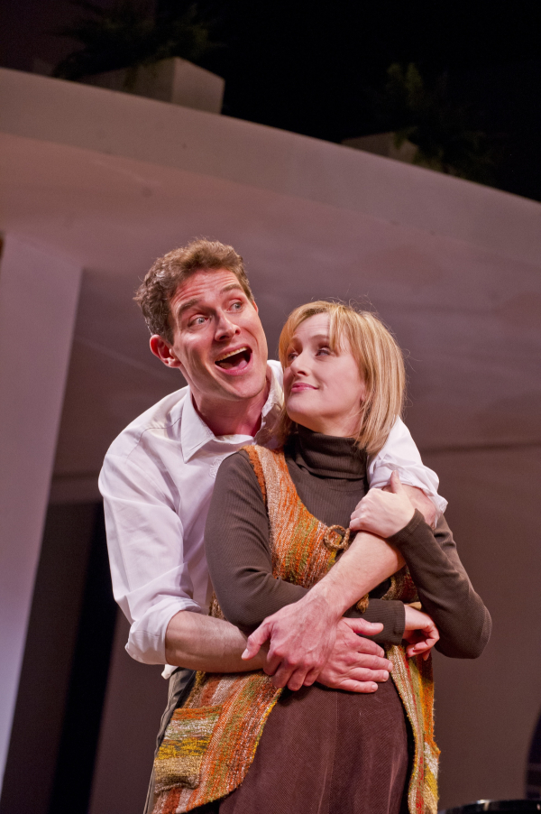 Mark Umbers and Jenna Russell in a scene from Merrily We Roll Along.