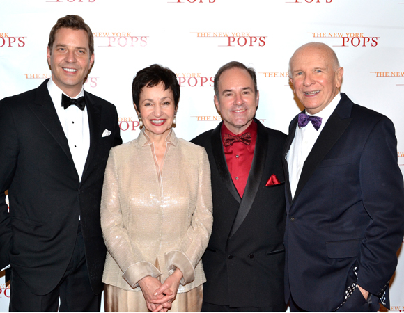 Terrence McNally (right) with Steven Reineke, Lynn Ahrens, and Stephen Flaherty.