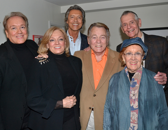 Pictured from left to right: Rick McKay, Jane Summerhays, Tommy Tune, Donald Pippin, Carleton Carpenter, and Marni Nixon