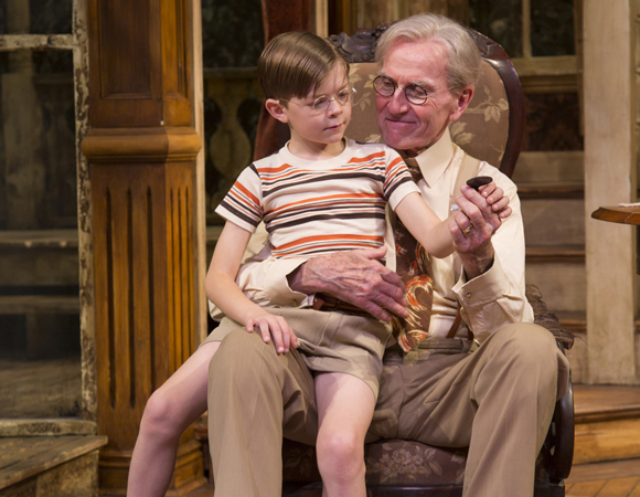 "Oakes Fegley (Pud) with Robert Hogan (""Gramps"") in On Borrowed Time at Two River Theater."