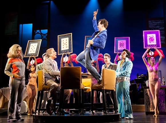 Tony Danza, Rob McClure, and the cast of Honeymoon in Vegas at Paper Mill Playhouse.