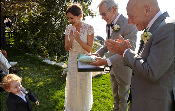 Sir Ian McKellen officiating the wedding of Sir Patrick Stewart and Sunny Ozell.