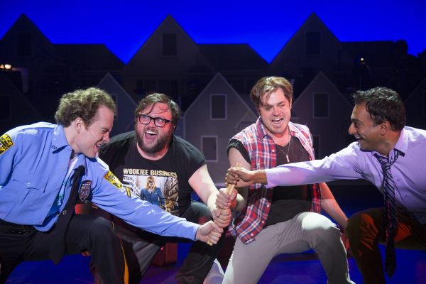 Adam Monley, Jay Klaitz, Mitchell Jarvis, and Manu Narayan in Gettin' the Band Back Together at George Street Playhouse
