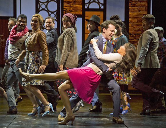 Rob McClure, Brynn O'Malley and the company of Honeymoon in Vegas