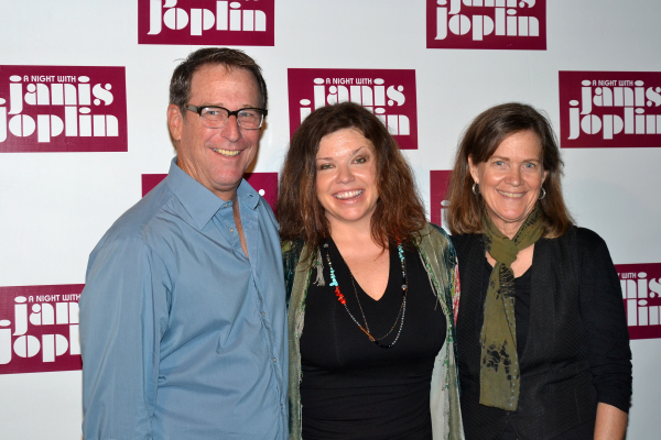 Michael and Laura Joplin flanking A Night With Janis Joplin star Mary Bridget Davies.