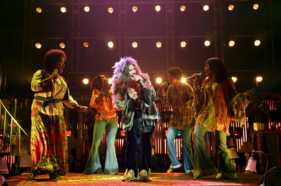 Mary Bridget Davies (center), Taprena Michelle Augustine, D'Adre Aziza, Allison Blackwell, and Nikki Kimbrough in A Night With Janis Joplin.