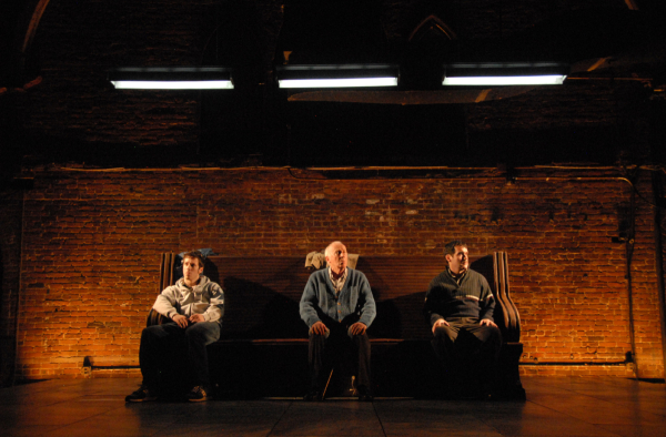 John Gallagher, Jr., Jim Norton, and Brian d'Arcy James in the 2008 off-Broadway production of Port Authority.