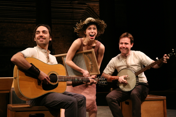 Ben Steinfeld, Emily Young, and Paul L. Coffey in Fiasco Theater's Cymbeline.