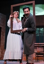 Natasha Nightingale and David Gautschy in The 39 Steps at White Plains Performing Arts Center.
