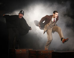 Jamie Jackson and John Behlmann in the off-Broadway production of The 39 Steps.