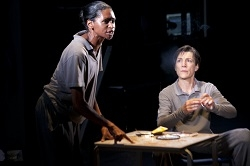 Jenny Jules and Harriet Walter in the Donmar Warehouse production of <i>Julius Caesar</i> at St. Ann's Warehouse.