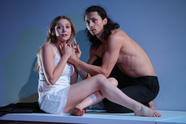 Elizabeth Olsen and Julian Cihi as Juliet and Romeo