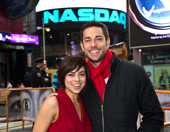 Krysta Rodriguez and Zachary Levi in Times Square.