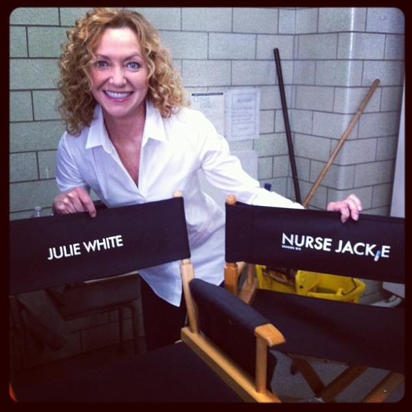 Julie White on set of Nurse Jackie.