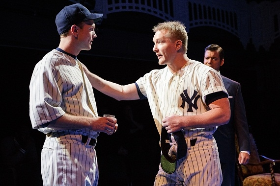 John Wernke as Lou Gehrig and Bill Dawes as Mickey Mantle in the Primary Stages production of Bronx Bombers.