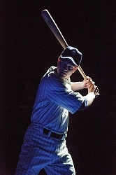 John Wernke as Lou Gehrig in the Primary Stages production of Bronx Bombers.