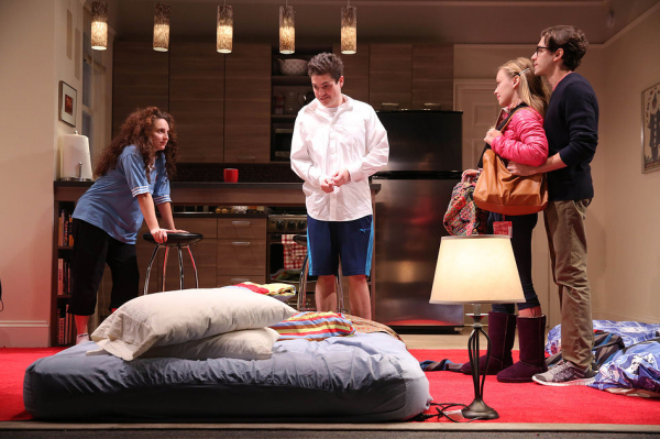 Tracee Chimo, Philip Ettinger, Molly Ranson, and Michael Zegen in Bad Jews.