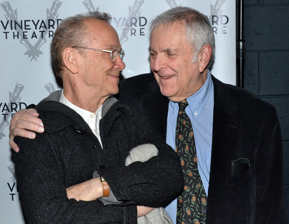Joel Grey and John Kander catch up at the opening night of The Landing.