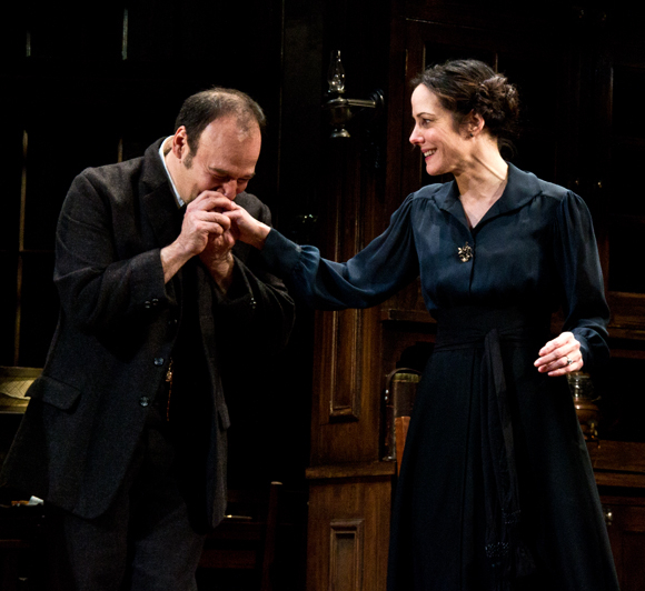 Danny Burstein kisses Mary-Louise Parker's hand upon completion of the opening-night performance.