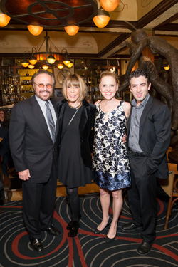 Barry Mann and Cynthia Weil with their stage counterparts, Anika Larsen and Jarrod Spector.