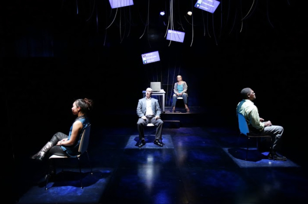 Theresa Nguyen, Gabriel Kuttner, Mariela Lopez-Ponce, and Johnny Lee Davenport in Water by the Spoonful at Lyric Stage.