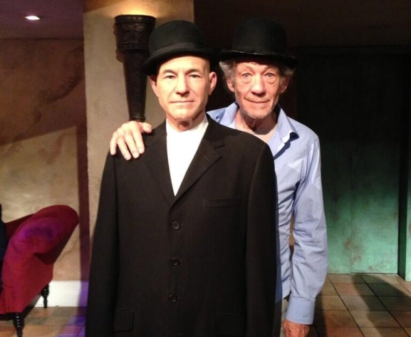 Sir Ian McKellen does NYC with Sir Patrick Stewart's wax replica at Madame Tussauds.