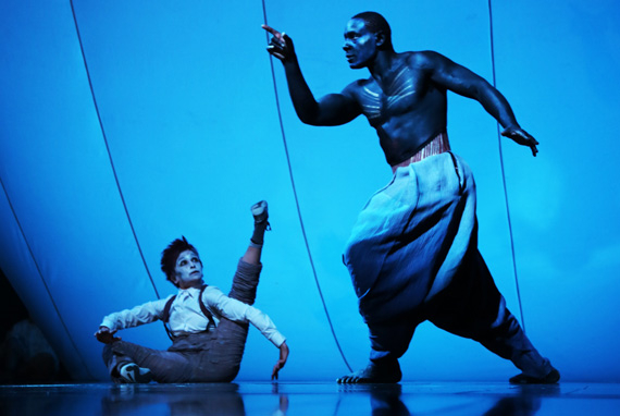 Kathryn Hunter and David Harewood in A Midsummer Night's Dream.
