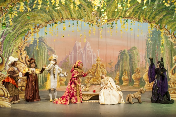 The Nanny, the Chamberlain, the King, the Queen, Aurora, Puffe (the dog), and  the Wicked Fairy in Sleeping Beauty.