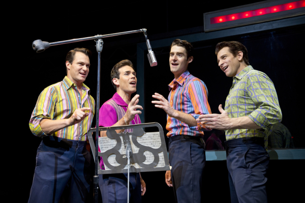 Matt Bogart, Dominic Scaglione Jr., Drew Gehling, and Andy Karl in Jersey Boys on Broadway.  Drew Gehling Andy Carl Matt Bogart Dominic Scaglione Jr