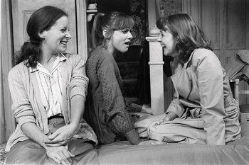 Lizbeth Mackay, Mary Beth Hurt, and Mia Dillion in the 1981 at the Broadway premiere of Crimes of the Heart at the Golden Theater.