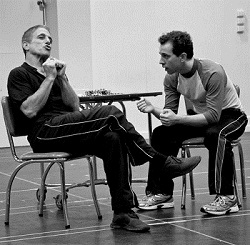 Tony Danza and Rob McClure rehearsing Honeymoon in Vegas