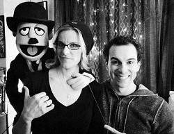 Chaplin stars Jenn Colella and Rob McClure show off puppet Charlie Chaplin (created by Rob's Avenue Q pal, Rick Lyon).