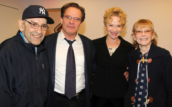 Yogi Berra, Peter Scolari, Tracy Shayne, and Carmen Berra