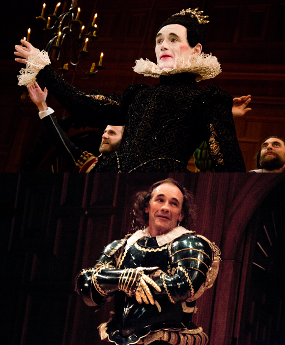 Two-time Tony Award winner Mark Rylance takes his curtain calls as Olivia in Twelfth Night (top) and Richard III in Richard III (bottom).