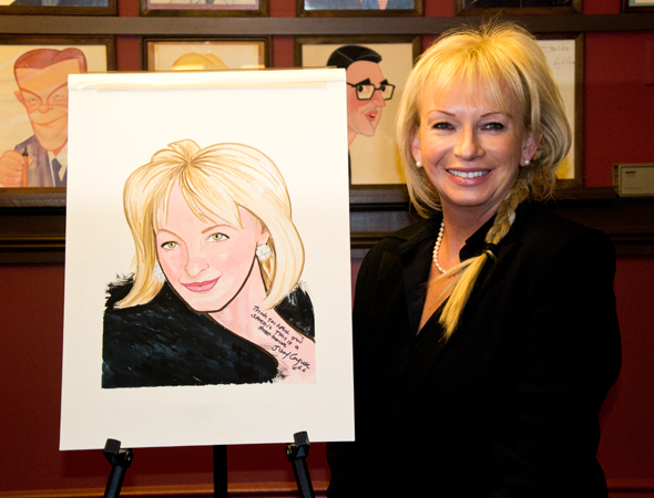 Mamma Mia! creator and producer Judy Craymer with her brand-new Sardi's caricature.